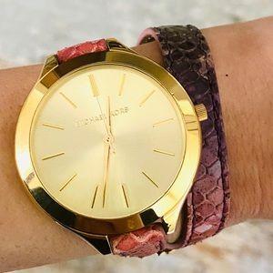 ♥️ Michael Kors ♥️ Slim Runway Leather Wrap Watch